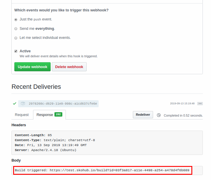 Screenshot from GitHub Webhook page with information that build was triggered with link to build log.