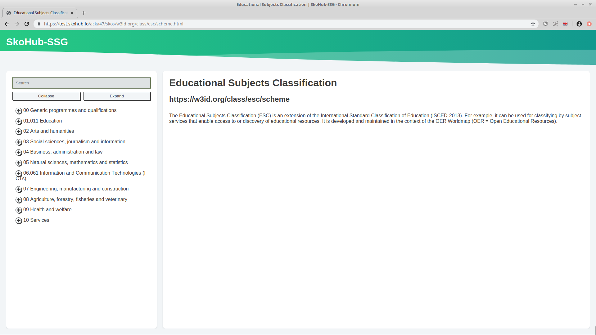 Screenshot of the HTML version of ESC published with SkoHub.